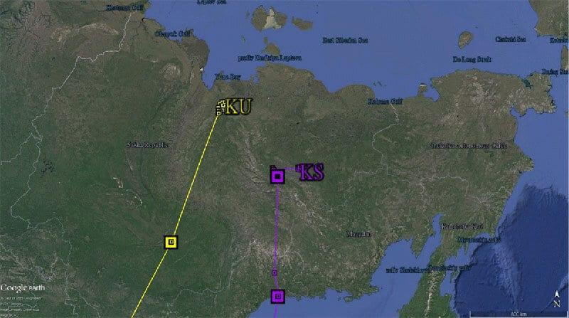 Breeding location of KS & KU in Russia