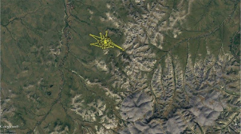 Figure 2a. Movement of KU around nesting location - Week 4: 28 Jun to 4 Jul