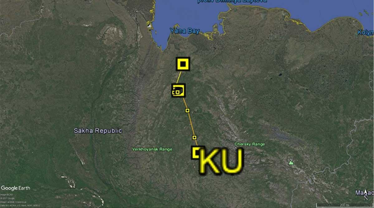 Migration track of whimbrel KU
