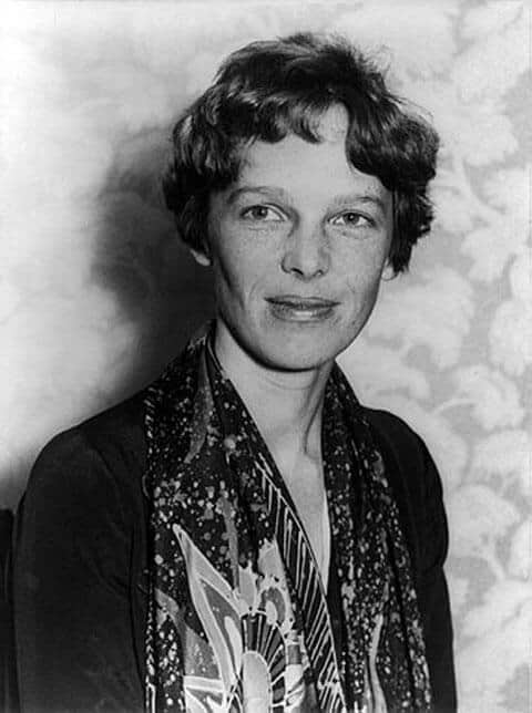 Black and white photo of Amelia Earhart