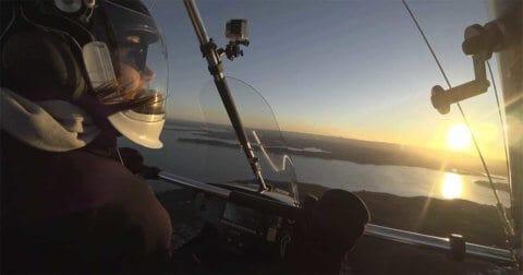 Pilot in a microlight