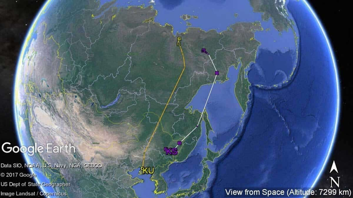 Whimbrel's KS & KU southward migration path