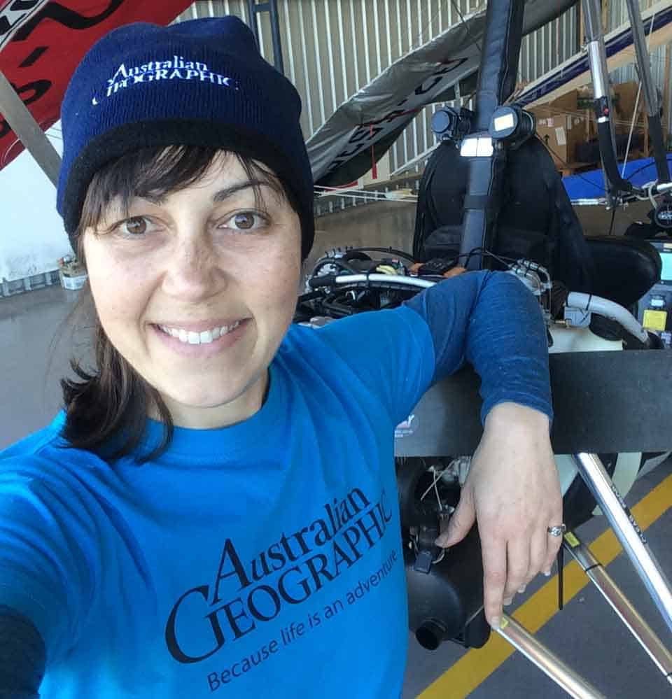 Selfie of Amellia Formby wearing blue Australian Geographic beanie and t-shirt