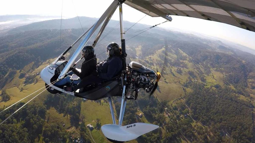 Flying in a microlight