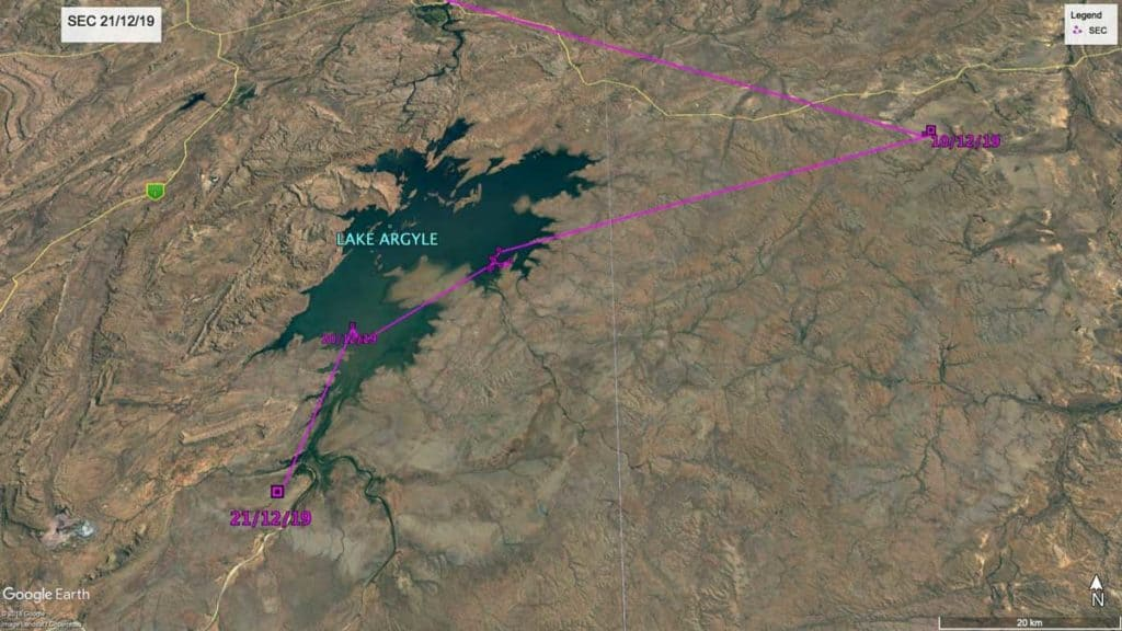 Zoomed in map of Lake Argyle, Western Australia, showing location of Oriental PRatincole, SEC, 21st December 2019