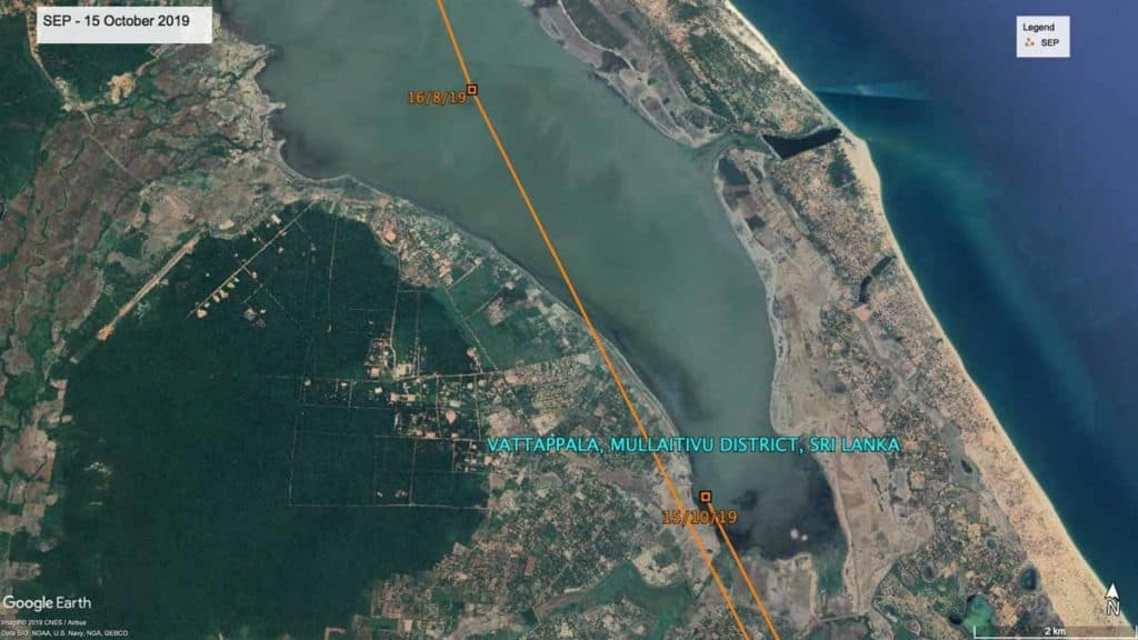 Map of Sri Lanka, showing last accurate location for Oriental Pratincole, SEP, 15th October 2019