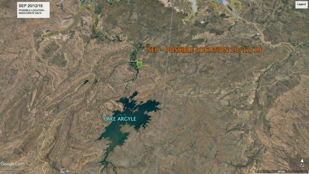 Map showing location of Oriental Pratincole, SEP, near Lake Argyle Western Australia