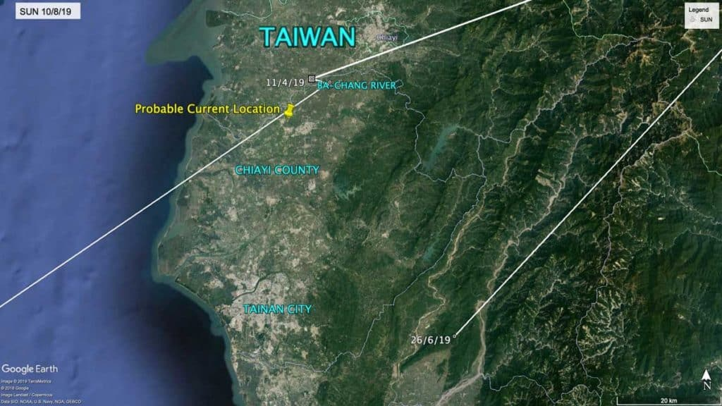 Map of Taiwan showing last known location of Oriental Pratincole, SUN, in Chiayi County, September 2019