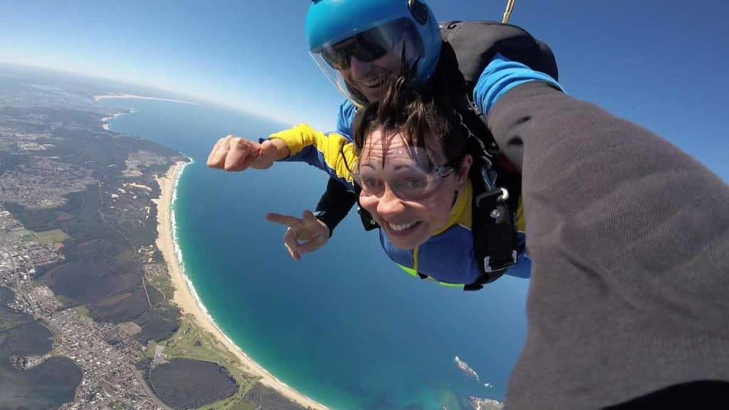 Amellia Formby skydiving at Lake Macquarie, New South Wales
