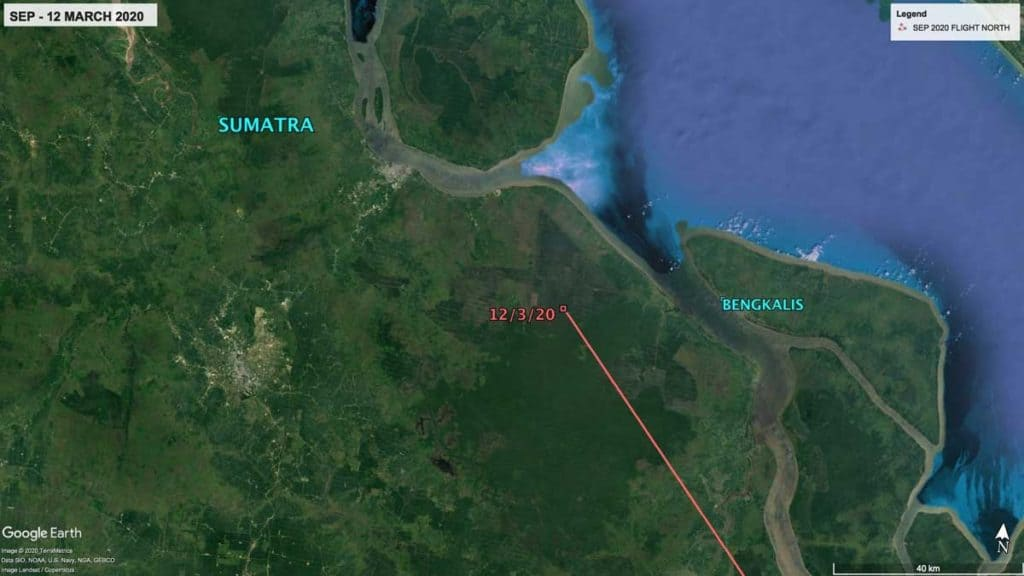 Map showing zoomed in view of location of Oriental Pratincole, SEP's location in Sumatra, Indonesia, 12th March 2020