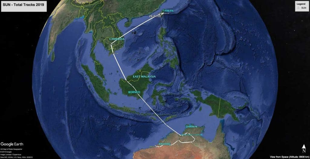Map showing migration path of Oriental Pratincole, SUN, from Australia to Taiwan in 2019