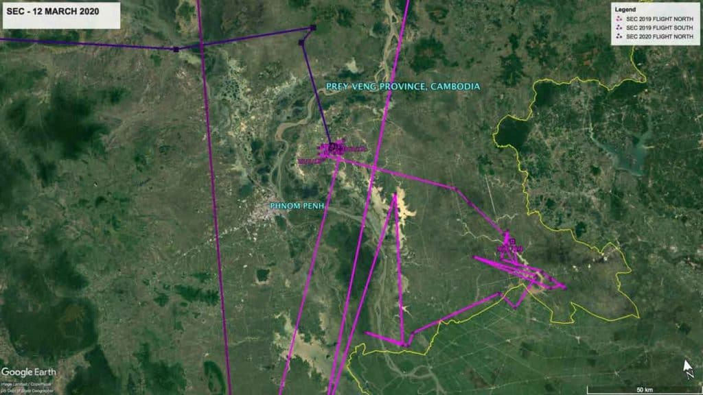 Map showing location of Oriental Pratincole, SEC, in Prey Veng Province, Cambodia, 12th March 2020