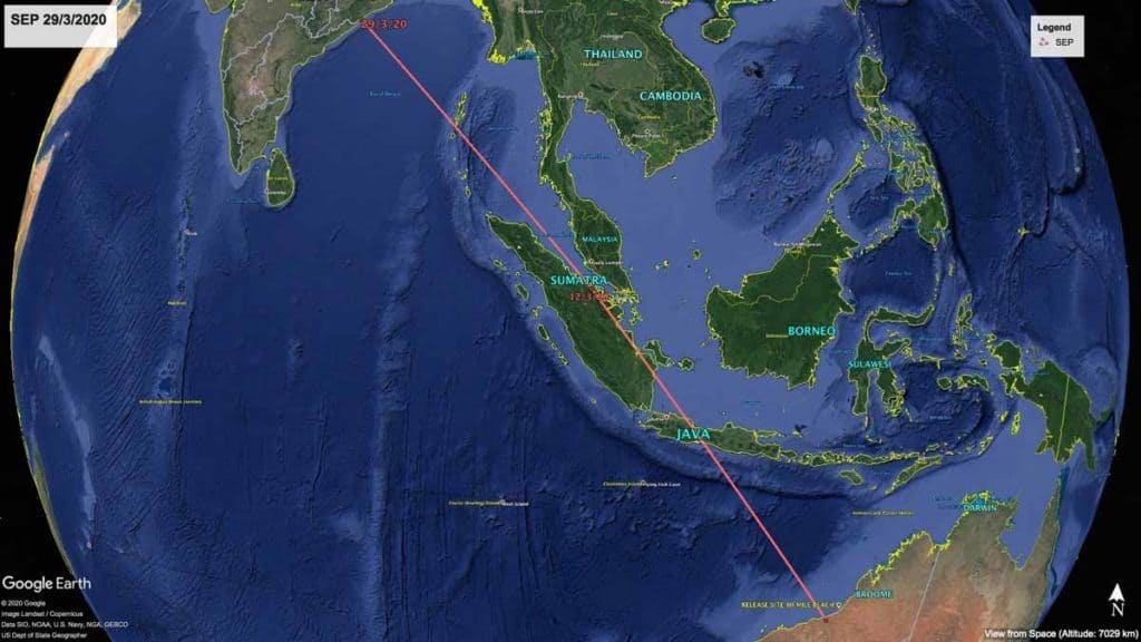 Map of northward migration path of Oriental Pratincole, SEP, from Australia to India