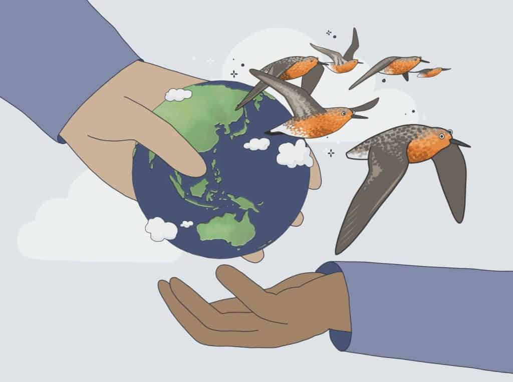 Cartoon of an adult's hand passing the Earth into the hand of a child