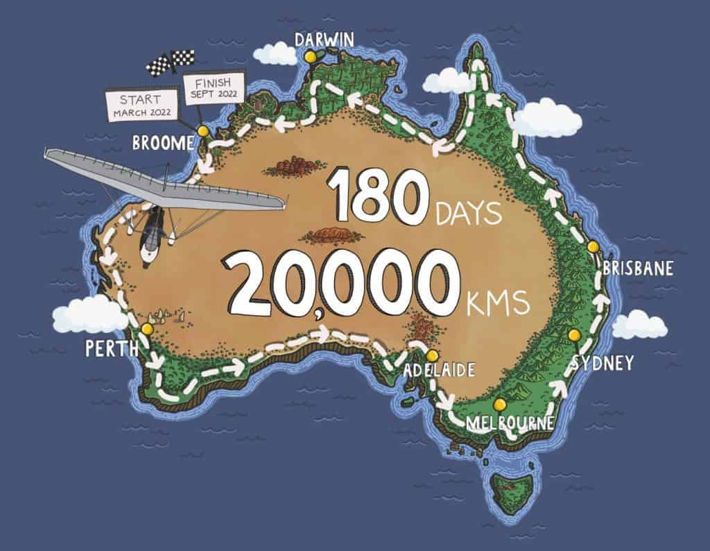 Cartoon map of Australia with a microlight flying around the coast
