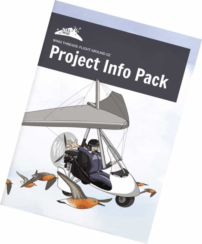Cover of the Wing Threads Project Info Pack with cartoon shorebirds and a microlight