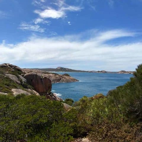 A view of the ocean over rocky cliffs at Esperance, Western Australia